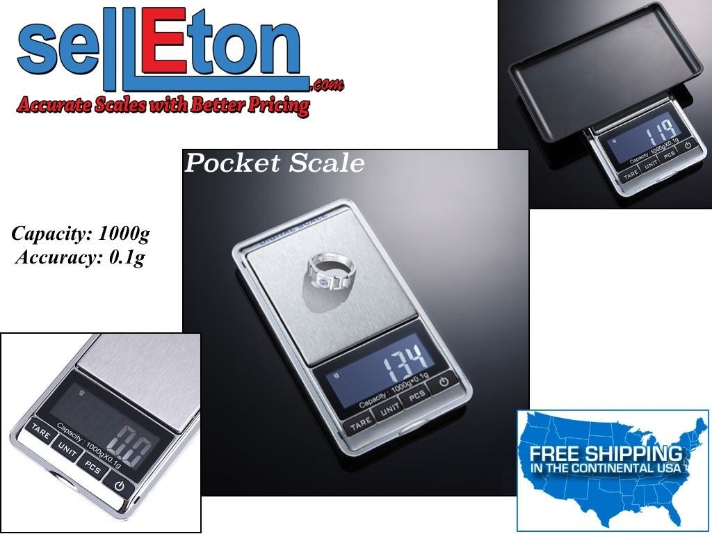 Pocket Scale Portable LCD Display / 0.1 g to 1,000 g