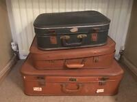 3 vintage shabby chic suitcases