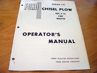 Ford 131 Chisel Plow M 3-bar Mounted Operators Manual