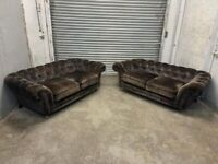 FREE DELIVERY TWO GREY BROWN VELVET CHESTERFIELD STYLE 3 SEATER SOFAS