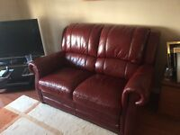Red leather 2 seater sofa - used Strathaven collection only