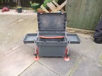 Shakespeare fishing box with padded seat, mud feet and 2 trays