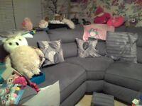 Lovely Grey Velvet Corner Sofa and Chair