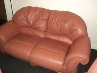 for sale leather quality sofa plus 2 chair bargain £50