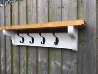 Solid Pine Hat And Coat Hook Rack With Shelf!