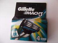 Gillette Mach 3 Razor Blades 4 Pack Brand NEW - 6.00