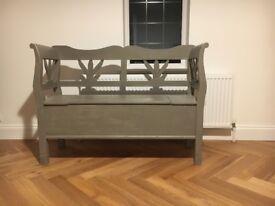 French style shabby chic bench with storage w 1220mm, d 405mm h 900mm in French Grey