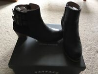 Fat Face black ankle boots, size 5.