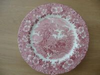 Bargain Vintage Enoch Wedgwood Woodland Tunstall Ltd Pink Plates x 6 Excellent Condition