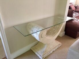 Glass and marble-style console table - ideal for hall, dining room or lounge