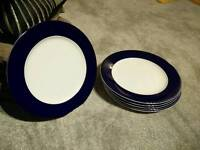 Set of 7 navy blue large French porcelain plates