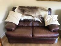 BROWN LEATHER SOFA SET WITH ARMCHAIRS