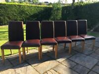 6 Dark Brown Real Leather Solid Oak Legs Dining Chairs