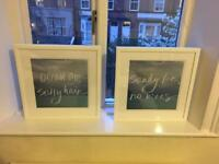 2 x wooden frames with pictures