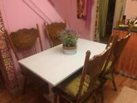 Lovely Duck Egg Blue Farmhouse Dining Table & 4 Character High Back Chairs