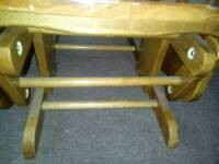 Light oak rocking chair with rocking stool to match
