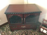 Small vintage dark wood tv unit or display table ideal for upcycling