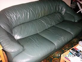Two Green Leather Sofa's