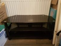 TV Stand, large (tv was 55 inches), black glass. Perfect condition. £40