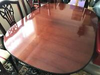 Mahogany dining room table and 6 chairs
