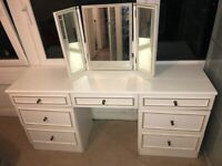White and gold Dressing Table / Makeup Table 166cm x 46cm - MIRROR INCLUDED