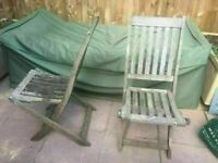 3 Teak Wood Garden or Patio Folding Chairs Solid and Sturdy Chairs