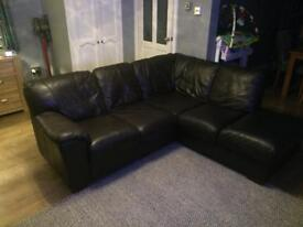 Brown leather corner sofa and 2 seater