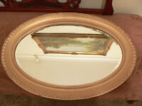 old large victorian / edwardian wood and plaster mirror bevel edge glass