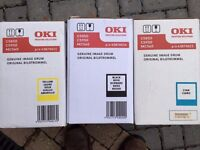 OKI printer cartridges Original and boxed unused. Yellow, Black & Cyan