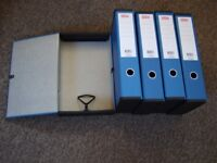 3 Box Files, Brand New, Foolscap Blue by Office Depot, Reinforced Plastic Ends. £15.
