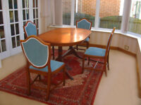 IN VERY GOOD CONDITION - 4 ELEGANT SOLID YEW CHAIRS ONLY £20.00 EACH + FREE TABLE(CAN DELIVER)