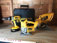 Dewalt 18v power tool set. Drill driver, Circular saw, jig saw, charger, batteries x 3