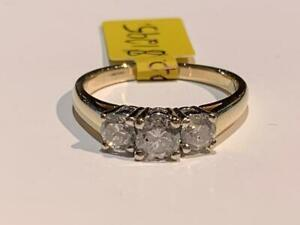 #181 14K YELLOW & WHITE GOLD PAST PRESENT FUTURE DIAMOND ENGAGEMENT RING *SIZE 7 1/2* APPRAISED AT $3850 SELL FOR $1295