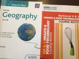 Higher geography, Nat 4 & 5 Health and Food tech