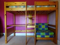 Wooden high sleeper with pull out bed,desk and shelves