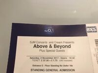 Above & Beyond at the o2 Sat 4th November 17 - 2 x standing tickets for sale £75 each