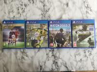 4 ps4 games - Call of duty / watchdogs 2 / fifa 16 and fifa 17