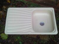 caravan cream sink with drainer