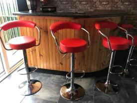 Four bar stools red