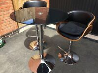 Black Glass Kitchen Bistro Table and 2 Faux Leather Swivel Chairs