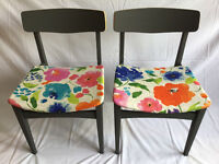 4 retro dining chairs upcycled with care and detail, with floral patern and grey painted frame