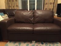 Brown Leather 2 Seater Sofa & Matching Armchairs