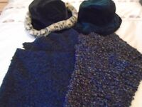Two hats and two scarves