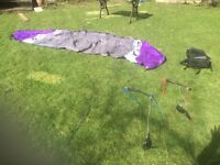 Flexifoil Blade III 4.0m power kite & Scrub Photon mountain board