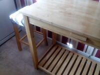 Kitchen table with drawer plus two stools perfect condition £50