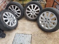 4 Tyres 205 /50 r16 with alloys tyres in great condition