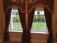 Exquisitely made fully lined curtains with tie backs and pelmet, 2 pairs
