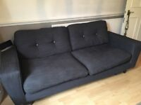 3 seat fabric sofa dark navy / contrasting grey buttons