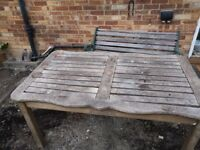 Garden furniture; bench and table