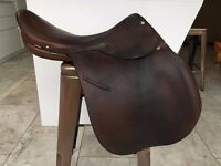 Meads General Purpose Saddle, brown leather, 18inch seat, used, some wear-see photo £40